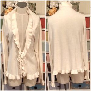 White Stag Ivory Sweater, Cardigan, Frilled